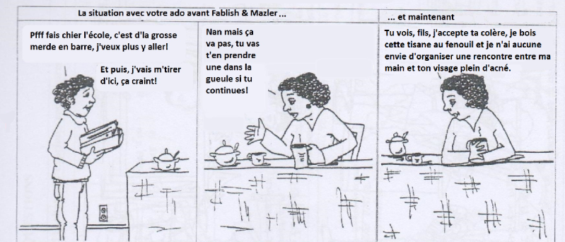 fablish et mazler mauvaise traduction BD communication non violente CNV manipulation parodie ateliers faber et mazlish  libres enfants du tarn albi 81