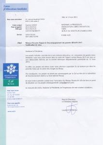 Lettre refus subvention REAAP albi tarn