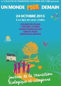affiche Tarn en Transition Saïx 24 octobre 2015 Libres enfants du Tarn