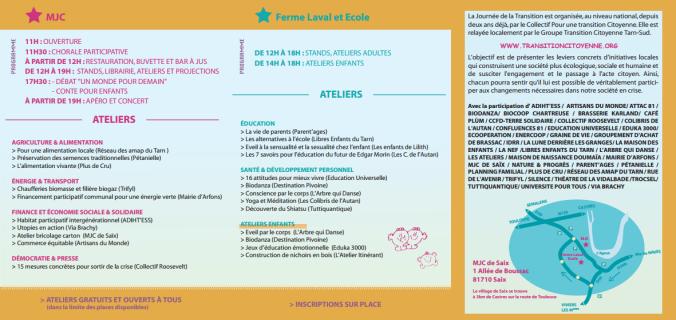 programme Tarn en Transition Saïx 24 octobre 2015 Libres enfants du Tarn