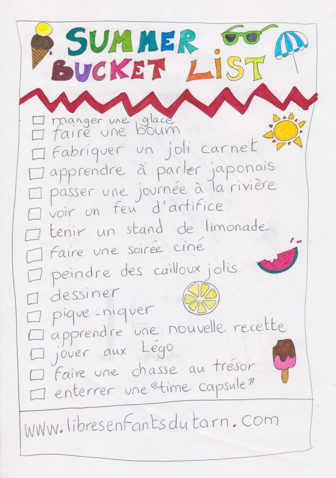 summer bucket list libres enfants du tarn association parentalité réseau parents programme été 2020