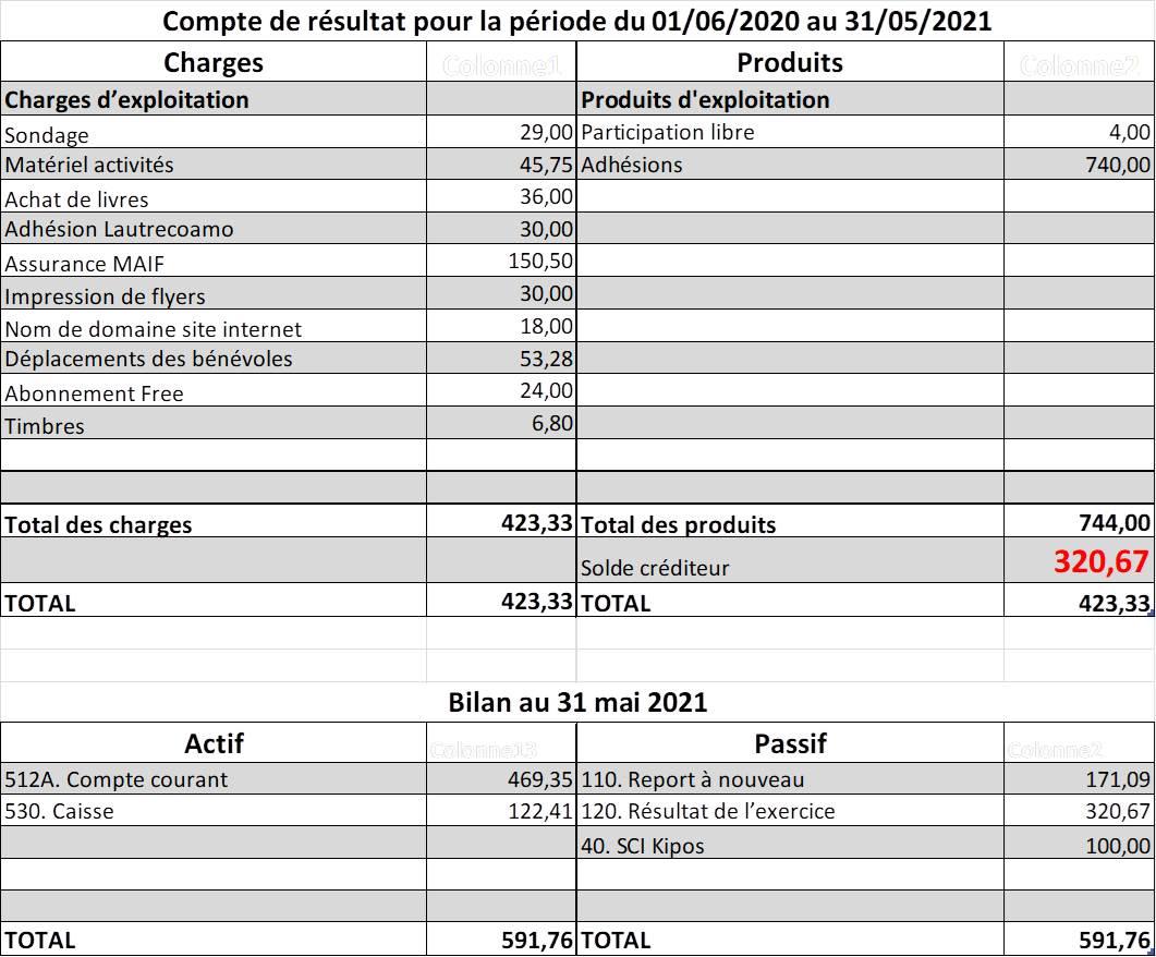 bilan financier comptes association parentalité libres enfants du tarn réseau parents 81REAAP