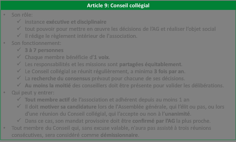 Conseil collégial association statuts Libres enfants du Tarn